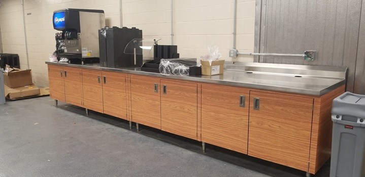 Custom Wrapped Stainless Steel Cabinets