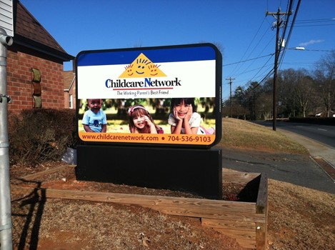 Childcare Network Illuminated Lightbox Monument Sign