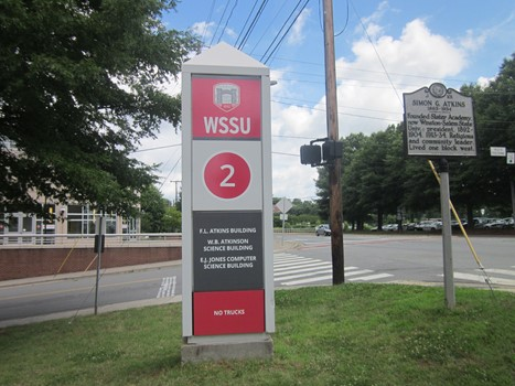 Winston-Salem State University Pylon Wayfinding Sign