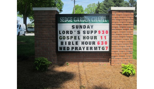 Changeable Letter Monument Sign for Sedge Garden Chapel in Kernersville, NC